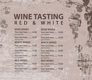 Menu for wine tasting patterned bunch of grapes. Vector menu for wine tasting with price and bunch of grapes on the background of a wooden board texture vector illustration