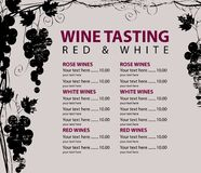 Menu for wine tasting patterned bunch of grapes. Vector menu for wine tasting with price list and grapevine with bunches of grapes with wooden board texture on vector illustration