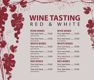 Menu for wine tasting patterned bunch of grapes. Vector menu for wine tasting with price and bunch of red grapes royalty free illustration