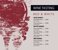 Menu for wine tasting patterned glass and grapes. Vector menu for wine tasting with price list, wine glass and bunches of grapes with wooden board texture on stock illustration