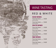 Menu for wine tasting patterned glass and grapes Royalty Free Stock Image
