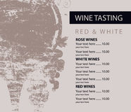 Menu for wine tasting patterned glass and grapes Stock Photos