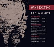 Menu for wine tasting patterned glass and grapes. Vector menu for wine tasting with price decorated with wine glass and grapes with grunge texture on the black royalty free illustration