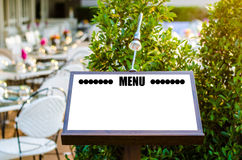 Menu on the wooden board Stock Image