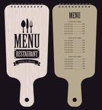 Menu in wooden cutting board. Menu for the restaurant in the form of wooden cutting board Stock Photos