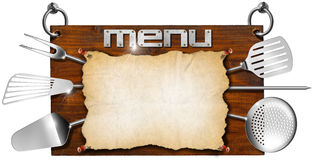 Menu Wooden Signboard Royalty Free Stock Photo