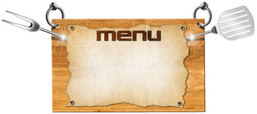 Menu Wooden Signboard Stock Images