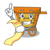 With menu wooden trolley mascot cartoon. Vector illustration royalty free illustration