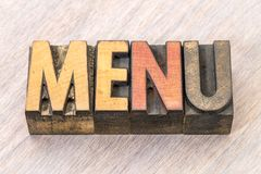 Menu word abstract in wood type Stock Photos