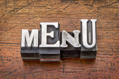 Menu word in metal type Royalty Free Stock Image