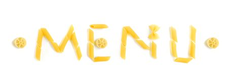 Menu word in pasta shapes. A fun and unique food concept image of the word MENU made with dried pasta of assorted pretty shapes. Taken on clean white background Stock Photos