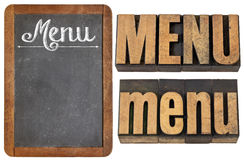 Menu word typography. In three versions - white chalk text on a slate blackboard and text in vintage letterpress wood type stock photography
