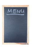 Menu word written on chalkboard. With wooden frame isolated on white Royalty Free Stock Photo