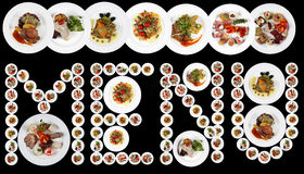 MENU word written with plates of food Stock Image