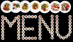 MENU word written with plates of food. Copy Space, black background Royalty Free Stock Photography