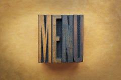 Menu. The word MENU written in vintage letterpress type stock photos