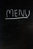 Menu write on blackboard ,chalkboard, texture.  Royalty Free Stock Photos