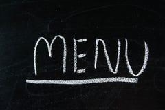Menu write on blackboard ,chalkboard, texture.  Royalty Free Stock Images