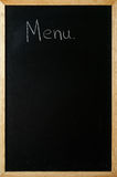 Menu is written on a blackboard Stock Photo