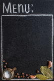 Menu  written with chalk on blackboard. Royalty Free Stock Images