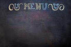 Menu is written on chalk Board Stock Images