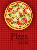 Menuachtergrond met pizza Stock Afbeeldingen