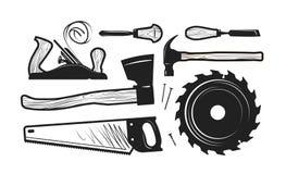 Menuiserie, icônes de menuiserie Ensemble d'outils tels que la hache, scie à métaux, marteau, planeuse, scie circulaire de disque illustration libre de droits