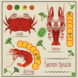 Menukanker, garnalen, krab, citroen Stock Afbeelding