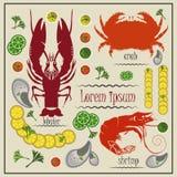 Menukanker, garnalen, krab, mosselen, citroen stock illustratie