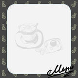 menulay-out voor de koffie met een beeld van een kop van koffie en toost met roereieren, tekst Stock Fotografie