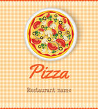 Menumalplaatje met pizza Stock Afbeeldingen