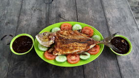 The menus. The grilled fish is today`s lunch menu Stock Image