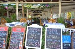 Menus at seaside restaurant ,Santorini,Greece Royalty Free Stock Photo