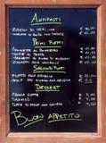 Meny av en restaurang Royaltyfria Foton