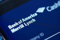 Meny för Bank of Americamoblieapp Arkivbild