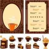 Meny för cafe med samlingsefterrätten och drinkar royaltyfri illustrationer