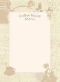 Meny för kaffehus med koppen, vasen och lyktan vektor illustrationer