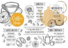 Meny för kafferestaurangkafé, malldesign stock illustrationer