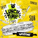 Meny för restaurang för lunchtidkafé Vektorsuben skjuter in snabbmat royaltyfri illustrationer