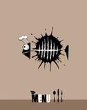 Meny för restaurangen med fisken stock illustrationer