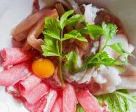 Meny för Sukiyaki nötköttuppsättning, varm kruka, Shabu Royaltyfria Bilder