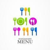 Meny för symboler för rengöringsduk för kniv för kökskedgaffel Royaltyfria Foton