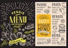 Meny för vegetarisk restaurang Vektormatreklamblad för stång och ca stock illustrationer