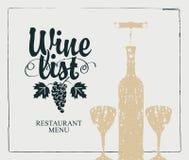 Meny för vinlista med flaskan, två exponeringsglas och vinrankan stock illustrationer