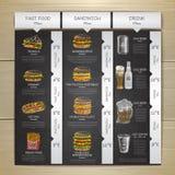 Meny för snabbmat för tappningkritateckning Smörgåsen skissar Royaltyfri Bild