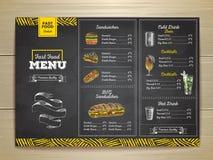 Meny för snabbmat för tappningkritateckning Smörgåsen skissar Arkivbild