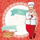meny Kock med pizza Röd bakgrund med blommacirkeln vektor Royaltyfria Bilder