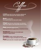 Meny med en kopp kaffe och bönor Fotografering för Bildbyråer