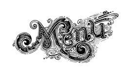 Meny tappningordstavning som m?rker f?r kaf?er, restauranger, pizzerias och snabbmat vektor illustrationer