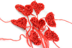 Meny wool hearts on white Stock Photo